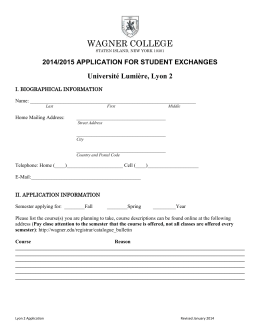Application for Visiting Students from Lyon 2