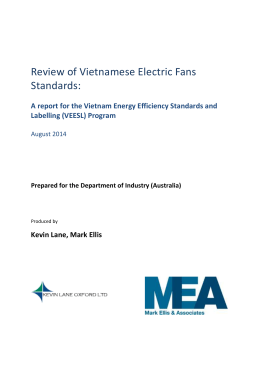 A report for the Vietnam Energy Efficiency Standards and Labelling