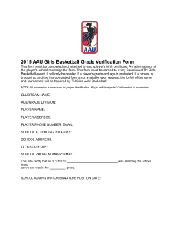 2015 AAU Girls Basketball Grade Verification Form
