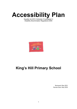 Accessibility Plan - Kings Hill Primary School