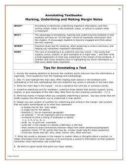 Annotating Textbooks: Marking, Underlining and Making Margin Notes