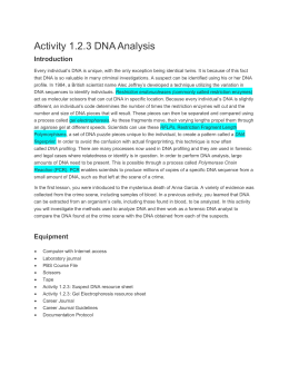 Activity 1.2.3 DNA Analysis
