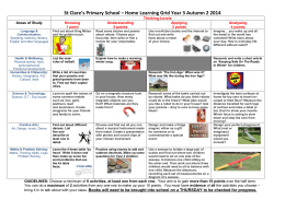 Sacred heart Primary * Home Learning Grid