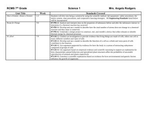 7th Grade Science 1 Standards - 1st Nine Weeks