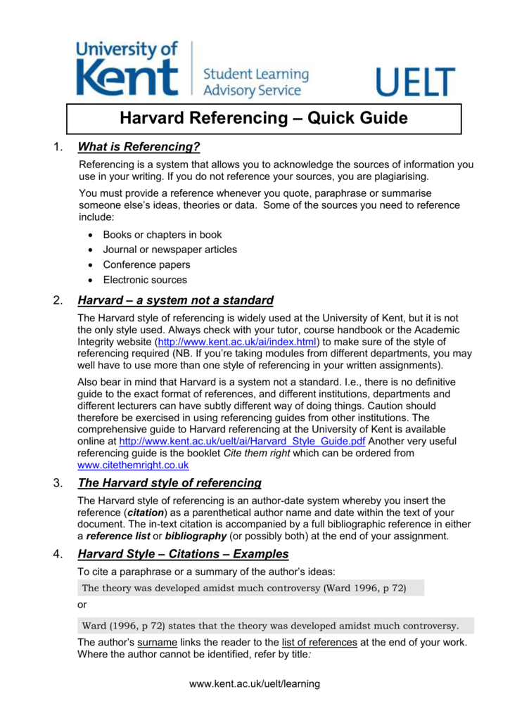 Harvard Referencing Quick Guide