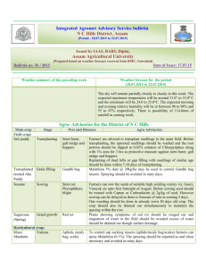 Integrated Agromet Advisory Service bulletin NC Hills District, Assam