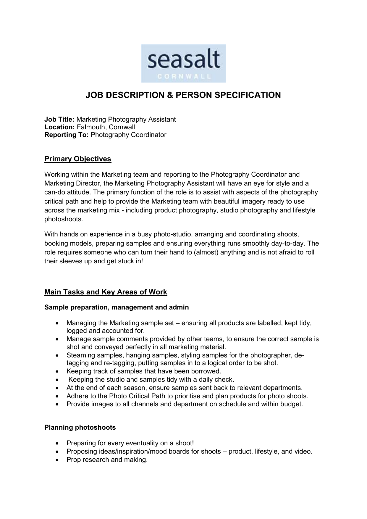 Marketing Photography Assistant Job Description