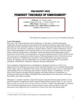 Feminist Theories of Embodiment