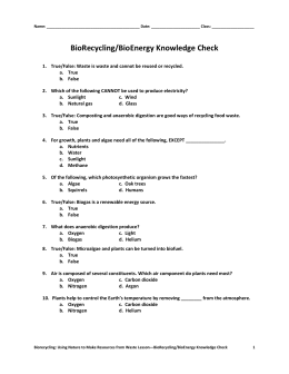 BioRecycling/BioEnergy Knowledge Check
