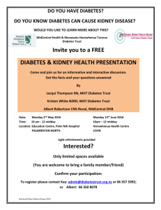 Diabetes & Kidney Health for consumers 2016