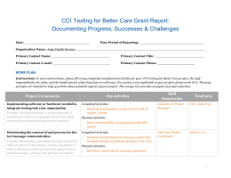 CCI Texting for Better Care Grant Report: Documenting Progress