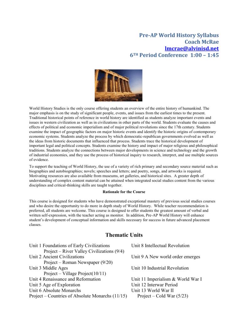 Pre-AP World History Syllabus