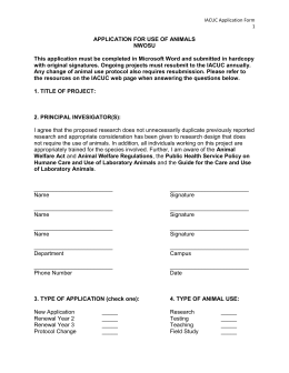 Application for Use of Animals