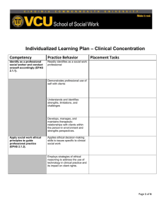 Individualized Learning Plan – Clinical Concentration Competency