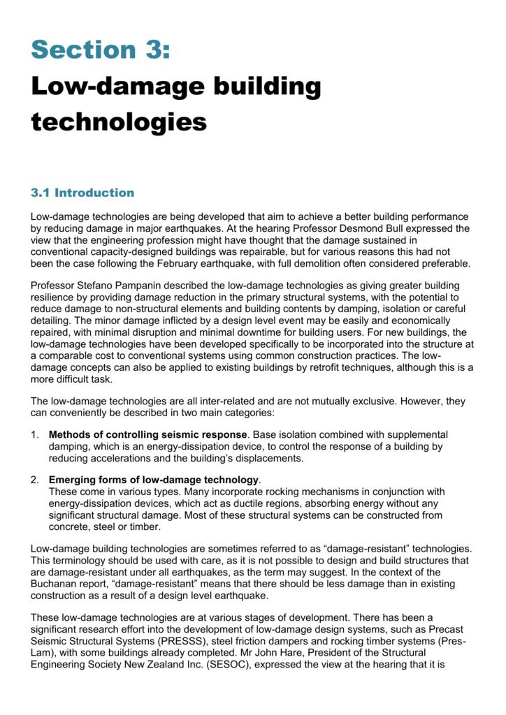 Low-damage building technologies 3 1