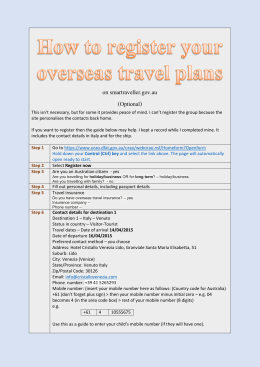How to guide for registering your travel plans