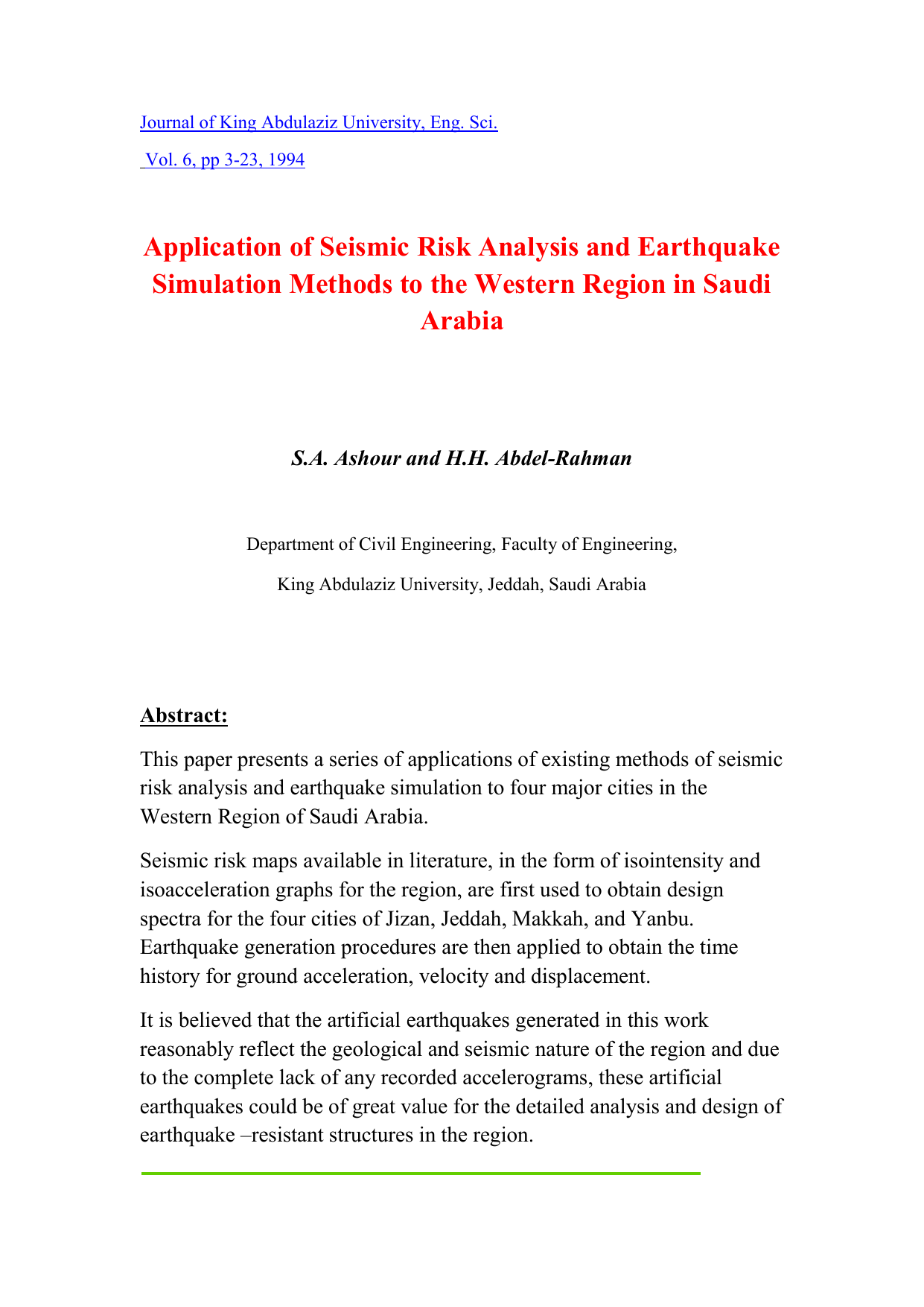 Application of Seismic Risk Analysis and Earthquake Simulation