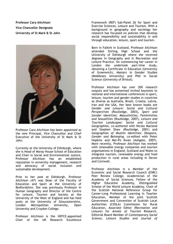 Professor Cara Aitchison Vice Chancellor Designate