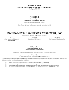ENVIRONMENTAL SOLUTIONS WORLDWIDE INC