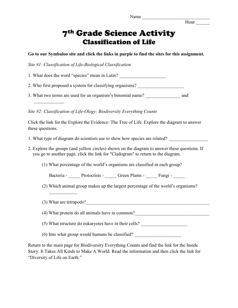 worksheet Classifying Organisms Worksheet classification of life worksheet