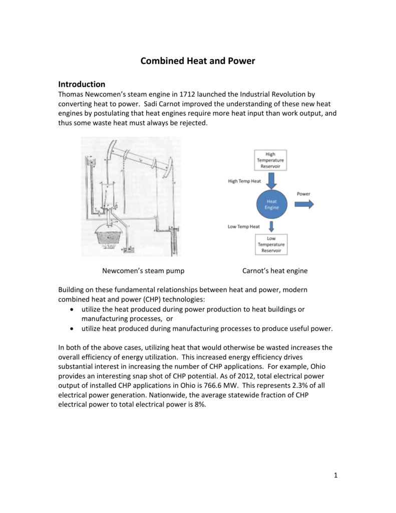Candidates For Combined Heat And Power Cogeneration Engine Diagram
