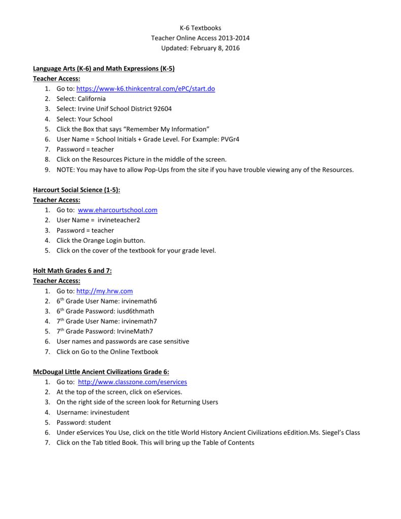 K-6 Textbooks Teacher Online Access 2013