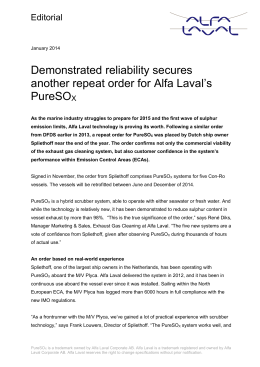 Demonstrated reliability secures a repeat order for Alfa Laval*s