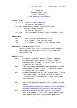 Curriculum Vitae - Department of Sociology