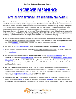 A Wholistic Approach to Christian Education