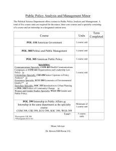 Public Policy Analysis and Management Minor Planner