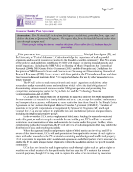 Resource Sharing Plan Agreement for NIH Proposals