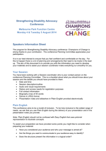 Information for Speakers - Disability Advocacy Resource Unit (DARU)