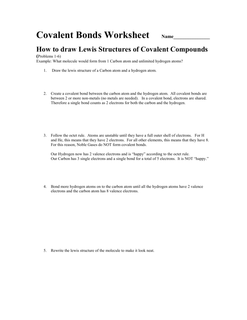 How to draw Lewis Structures of Covalent Compounds – Drawing Lewis Structures Worksheet