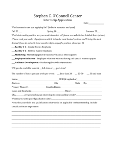 Internship Application - Stephen C. O`Connell Center
