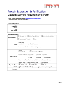 Protein Expression & Purification Custom Service Requirements