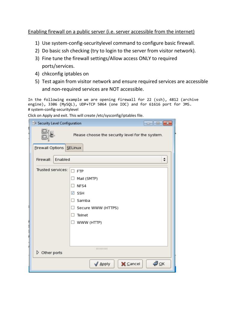 Enabling firewall on a public server