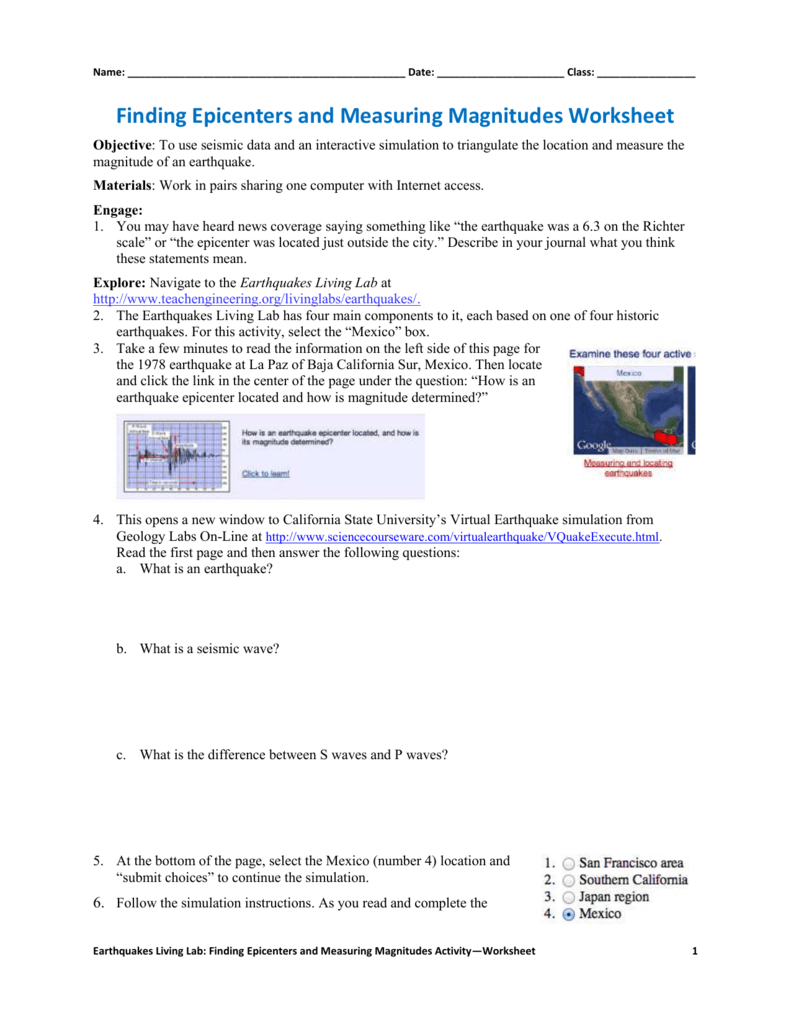 Worksheets Earthquakes And Seismic Waves Worksheet finding epicenters and measuring magnitudes worksheet 006739627 1 2f5f6445e4e4b16aa224dffa32abad5d png