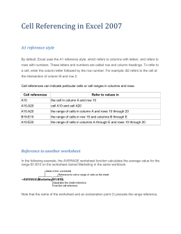 Cell Referencing in Excel 2007