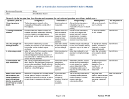 2014 Co-Curricular Assessment REPORT Rubric Matrix