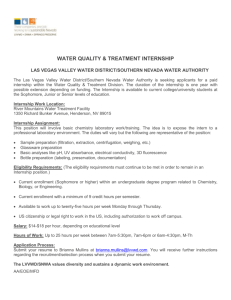 Water Quality & Treatment Internship, LVVWD/SNWA