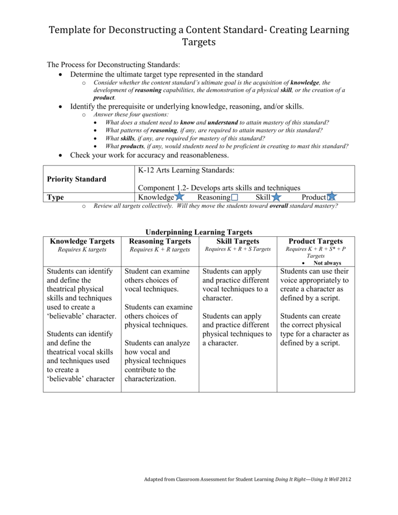 Template For Deconstructing A Content Standard - Standards document template