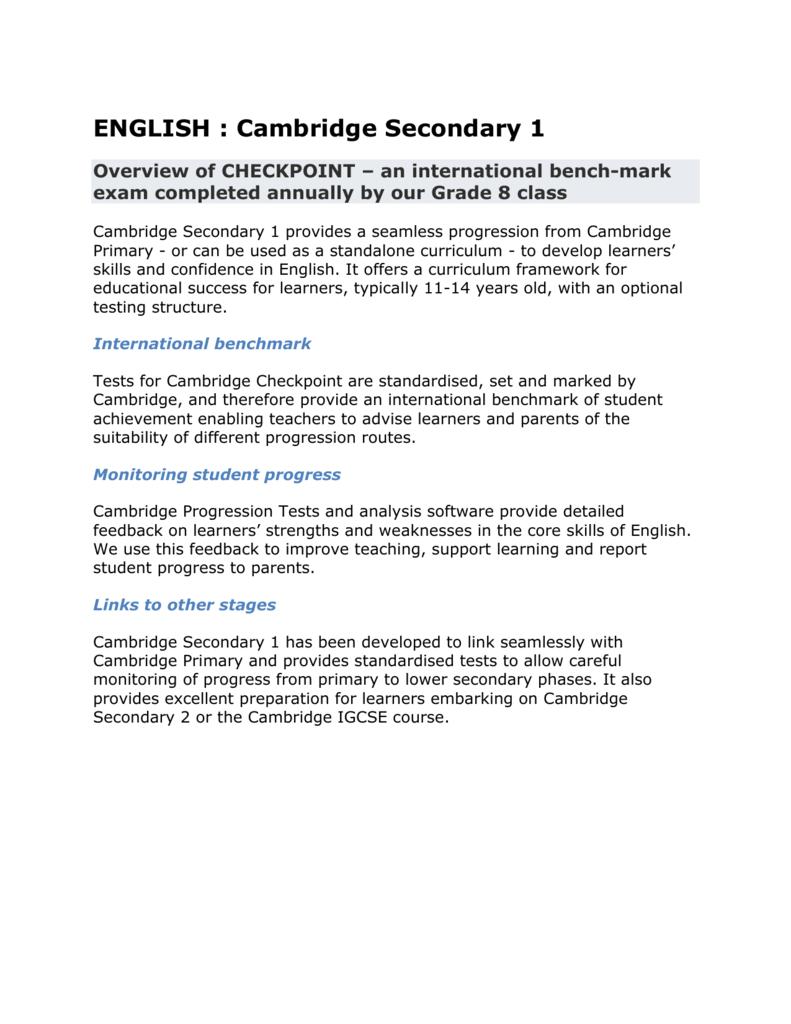 ENGLISH : Cambridge Secondary 1