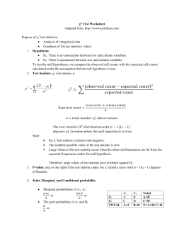 Chi-squared Worksheet
