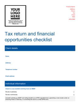 Tax return and financial opportunities checklist