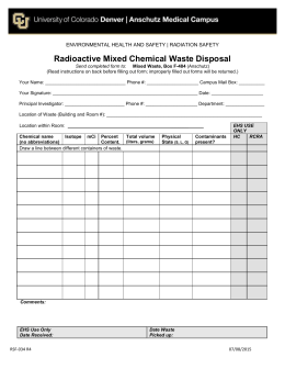 RAM Mixed Waste Disposal RSF