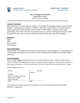 Honours Thesis Course Outline Template