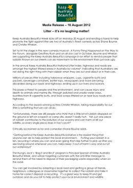 Media Release – 16 August 2012 Litter – it`s no laughing matter!
