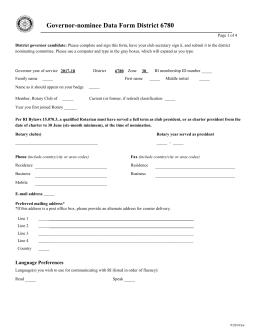 Governor-nominee Data Form