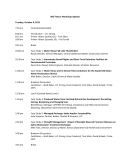 Water Quality/Water Quantity Nexus Workshop Agenda
