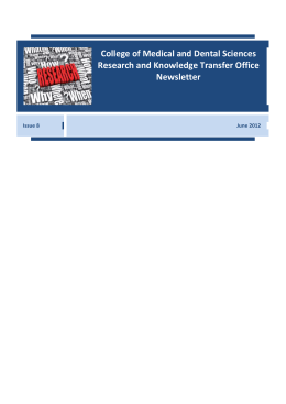 RKTO Newsletter June 2012 - University of Birmingham